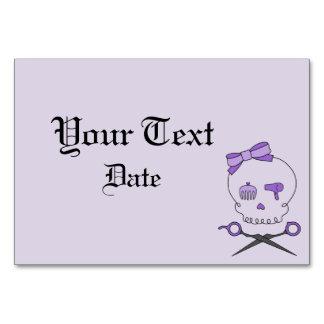 Hair Accessory Skull Scissor Crossbones Purple Table Card