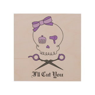 Hair Accessory Skull & Scissor Crossbones (Purple) Wood Canvases