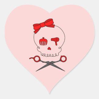 Hair Accessory Skull & Scissor Crossbones (Red #2) Heart Sticker