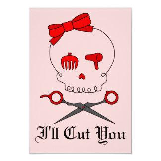 Hair Accessory Skull & Scissor Crossbones (Red #2) 3.5x5 Paper Invitation Card