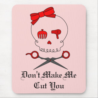 Hair Accessory Skull & Scissor Crossbones (Red #2) Mouse Pad