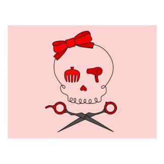 Hair Accessory Skull Scissor Crossbones Red 2 Post Card