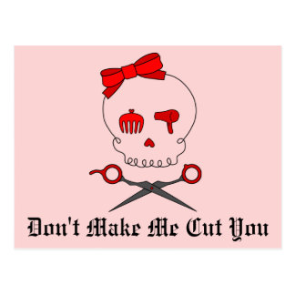 Hair Accessory Skull & Scissor Crossbones (Red #2) Postcard