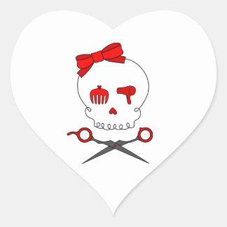 Hair Accessory Skull & Scissor Crossbones (Red) Heart Sticker