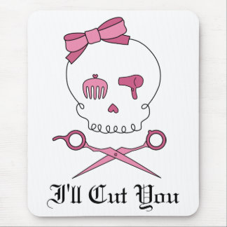 Hair Accessory Skull & Scissor Crossbones (Red) Mouse Pad