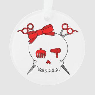 Hair Accessory Skull (Scissor Crossbones Red) Ornament