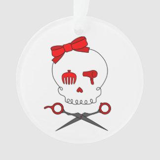 Hair Accessory Skull & Scissor Crossbones (Red) Ornament