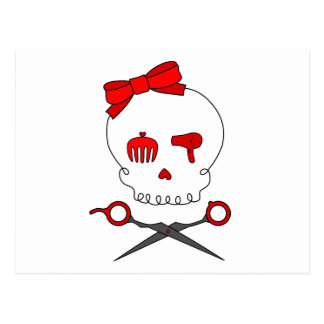 Hair Accessory Skull Scissor Crossbones Red Postcard