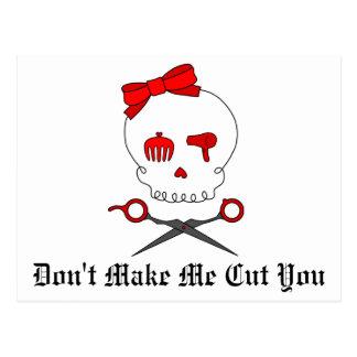 Hair Accessory Skull Scissor Crossbones Red Postcards