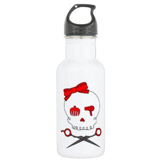 Hair Accessory Skull & Scissor Crossbones (Red) Stainless Steel Water Bottle
