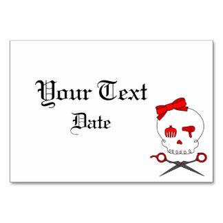 Hair Accessory Skull Scissor Crossbones Red Table Cards