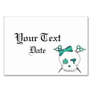 Hair Accessory Skull -Scissor Crossbones Turquoise Table Cards
