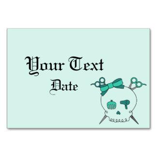 Hair Accessory Skull -Scissor Crossbones Turquoise Table Card