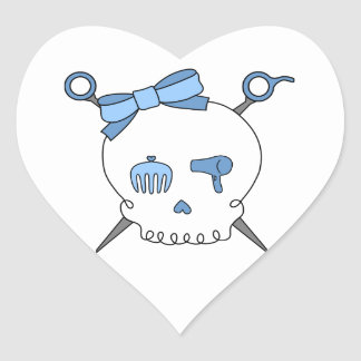 Hair Accessory Skull & Scissors (Blue) Heart Sticker