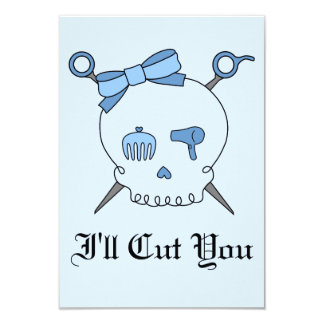 Hair Accessory Skull & Scissors (Blue Version 2) Card