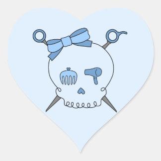 Hair Accessory Skull & Scissors (Blue Version 2) Heart Sticker