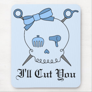 Hair Accessory Skull & Scissors (Blue Version 2) Mouse Pad