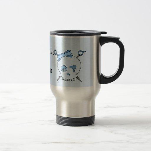 Hair Accessory Skull & Scissors (Blue Version 2) Travel Mug