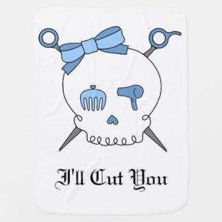 Hair Accessory Skull & Scissors (Blue) Swaddle Blanket
