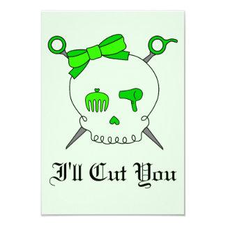 Hair Accessory Skull & Scissors (Lime Green #2) Card