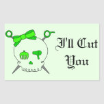 Hair Accessory Skull & Scissors (Lime Green #2) Rectangle Stickers