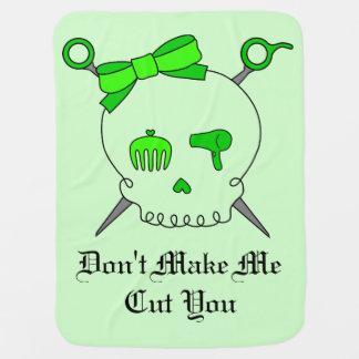 Hair Accessory Skull & Scissors (Lime Green #2) Swaddle Blankets