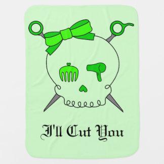Hair Accessory Skull & Scissors (Lime Green #2) Receiving Blankets