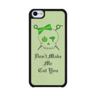 Hair Accessory Skull & Scissors (Lime Green #4) Carved® Maple iPhone 5C Slim Case