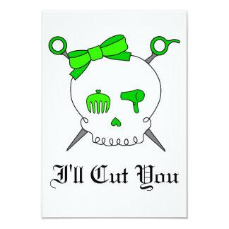 Hair Accessory Skull & Scissors (Lime Green) Card