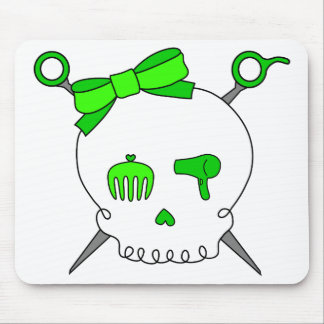 Hair Accessory Skull & Scissors (Lime Green) Mouse Pad