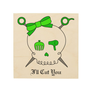 Hair Accessory Skull & Scissors (Lime Green) Wood Print