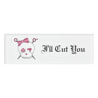 Hair Accessory Skull & Scissors -Pink I'll Cut You Name Tag