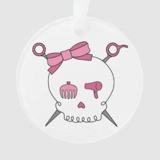 Hair Accessory Skull & Scissors (Pink) Ornament