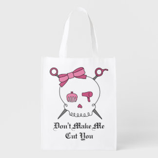 Hair Accessory Skull & Scissors (Pink) Reusable Grocery Bag