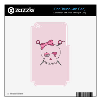 Hair Accessory Skull & Scissors (Pink) Skins For iPod Touch 4G
