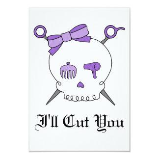 Hair Accessory Skull & Scissors (Purple) Custom Invitation
