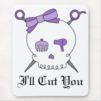 Hair Accessory Skull & Scissors (Purple) Mouse Pad