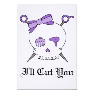 Hair Accessory Skull & Scissors (Purple Version 2) Custom Invitations