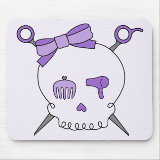 Hair Accessory Skull & Scissors (Purple Version 2) Mouse Pad