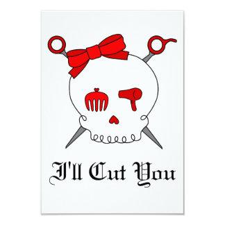 Hair Accessory Skull & Scissors (Red) Card