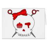 Hair Accessory Skull & Scissors (Red) Greeting Cards