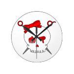 Hair Accessory Skull & Scissors (Red) Round Wall Clock