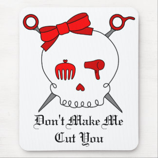 Hair Accessory Skull & Scissors (Red) Mouse Pad