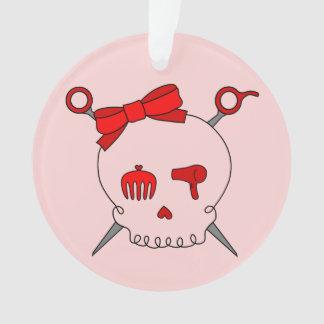 Hair Accessory Skull & Scissors (Red) Ornament