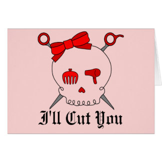 Hair Accessory Skull & Scissors (Red Version 2) Greeting Card