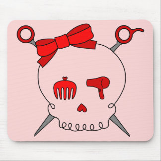 Hair Accessory Skull & Scissors (Red Version 2) Mouse Pad