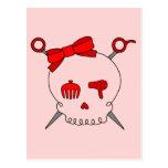 Hair Accessory Skull & Scissors (Red Version 2) Postcard
