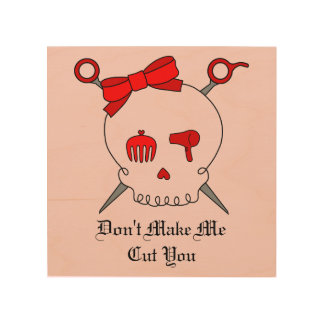 Hair Accessory Skull & Scissors (Red Version 2) Wood Prints