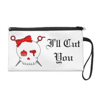 Hair Accessory Skull & Scissors (Red) Wristlet Purse