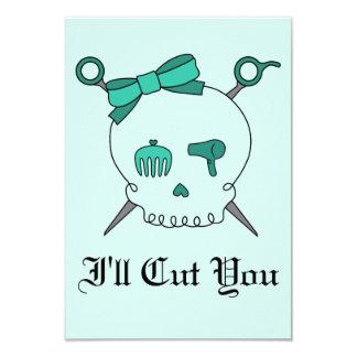 Hair Accessory Skull & Scissors (Turquoise #2) Card